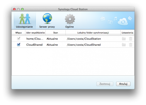 screen 25 - Cloud Station - klient w wersji dla OS X