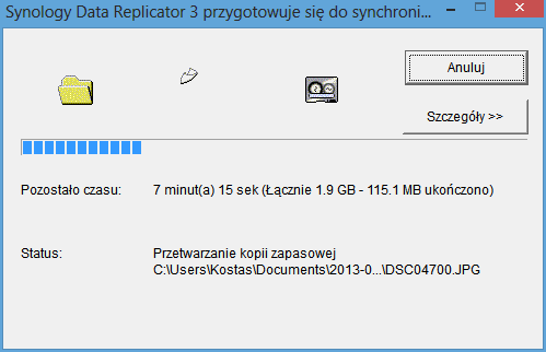 screen 38 - Data Replicator 3 - postęp kopiowania (wolno bo po Wi-Fi)